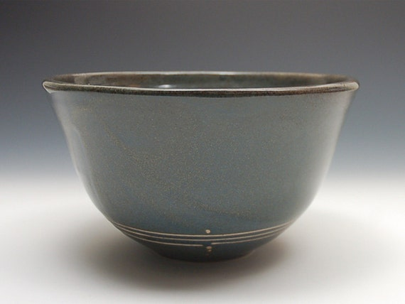 Medium Blue/Black Bowl with Raw Clay Design