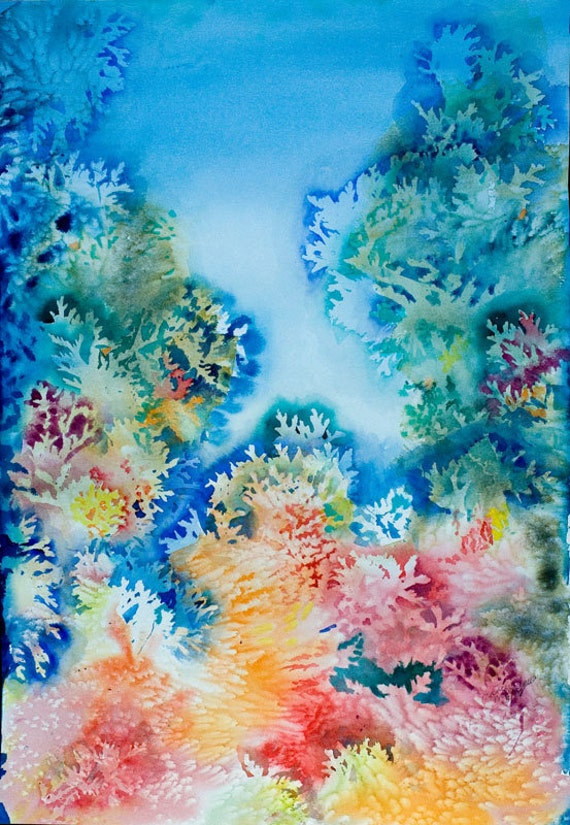 Items similar to CORALS Original Water color painting ...