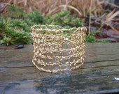 Free Domestic Shipping. Hand Knit Gold Wire Bracelet.