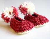 Christmas Baby Booties Red and White Ready to SHip Size 3-6 Months