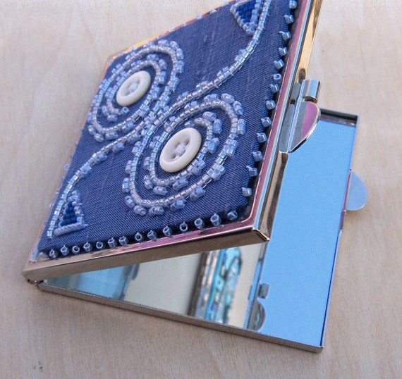SALE Shell Button and Beadwork Compact Mirror