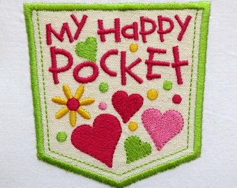 INSTANT DOWNLOAD My Happy Pocket Full of Hearts Applique Embroidery Design DE002
