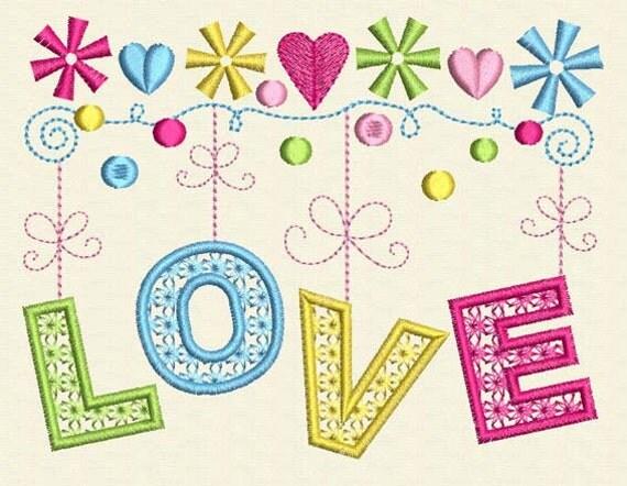 INSTANT DOWNLOAD Love Embroidery Digital Design Valentine's Day Decor VA009