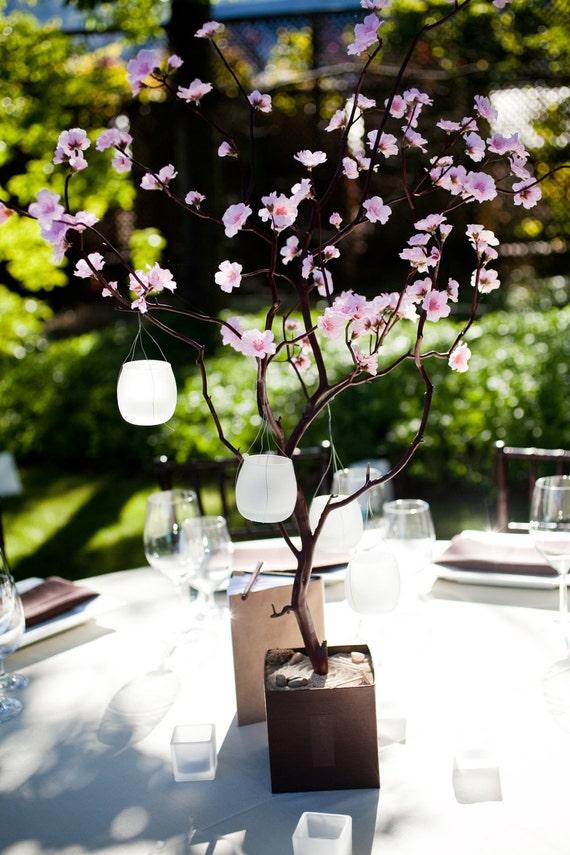 Items similar to cherry blossom centerpiece with hanging - Mesas de centro que se elevan ...