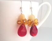 Kluster Ruby Earrings. Red Earrings. Red Ruby Earrings. Amber Earrings. Yellow Earrings. Jade Earrings. Sterling Silver.