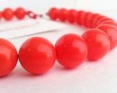 Coral Necklace. Orange Necklace. Pink Necklace. Coral Pink Necklace. Beaded Necklace. Red Necklace. Bridesmaid Necklace. Silver. Kluster.