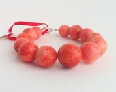 Coral Beaded Bracelet. Coral Pink Bracelet. Spring Summer Fashion. Mothers Day. Sterling Silver. Peach. Pink. Red.