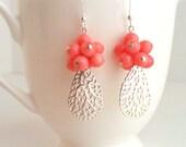 Coral Earrings. Silver Earrings. Coral Fan Earrings. Real Coral Earrings. Coral Pink . Beach. Summer. Fashion. Sterling Silver. Kluster.