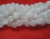 stone bead,cracked rock crystal,smooth round 8mm,15inch strand