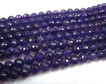 stone bead,amethyst,faceted round 6mm,15 inch strand