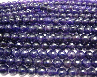stone bead,amethyst,faceted round 8mm,15inch strand
