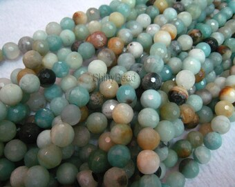 stone bead,Chinese amazonite,faceted round 8mm,15 inch