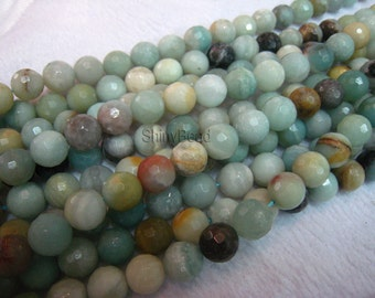 stone bead,Chinese amazonite,faceted round 10mm,15 inch