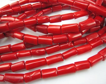 coral,red coral barrel bead 16-12mmx12-9mm,15 inch