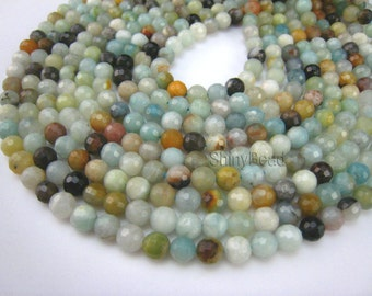 stone bead,Chinese amazonite,faceted round 4-6mm,15 inch