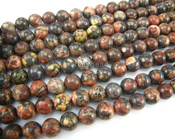 stone bead,leopardskin jasper,round 8mm,15 inch
