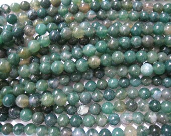 stone bead,moss agate,round 8mm,15 inch