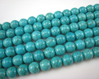 stone bead,Chinese turquoise,round 10mm,15 inch