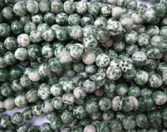 stone bead,green spot jasper round 12mm,15inch