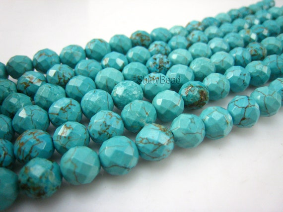 stone bead,Chinese turquoise faceted round 8mm,15.5 inch