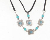 Southwestern Leather, Silver & Turquoise Beaded Necklace Set, for Cowgirls of All Ages, Country Chic