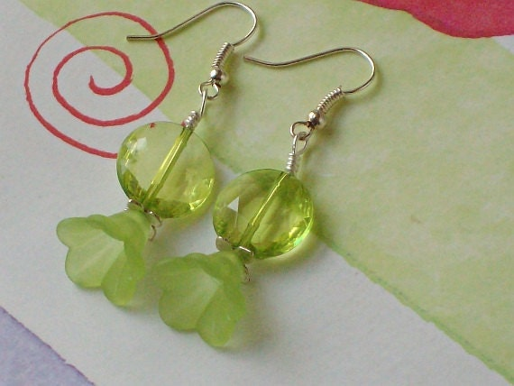 Country Chic Wire Wrapped Earrings with Lemon Lime Lucite Lilies