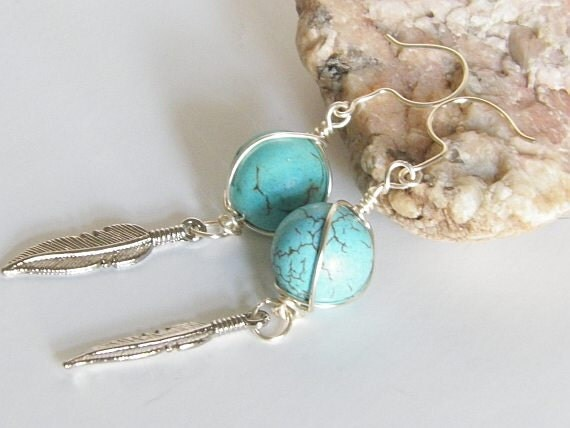 Southwestern Turquoise & Feather Earrings, Cowgirl Jewelry-FREE USA SHIPPING