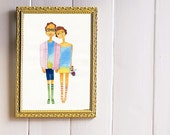 Custom Couple illustration, custom portrait , couple personalized, custom illustrated wedding invitations . DIGITAL FILE .