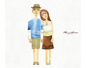 Custom AN OIGINAL Couple watercolor illustration, Save the date , guestbook poster, custom illustration portraits.