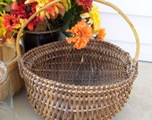 Vintage and Distressed Primitive Farmhouse Wicker Egg Gathering Butt Basket