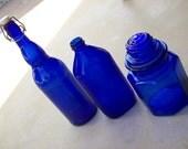 Reserved for Helen-Wine bottle only--Sale--was 35.50--Vintage Cobalt Blue Bottle Jars--Instant Collection--set of 3