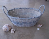Sale--was 16.00--Vintage Shabby Chic French Country Blue and White-Washed Small Wicker Laundry Basket