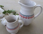 White Ceramic Farmhouse Dairy Association Commorative Milk Pitcher and Creamer with Quilting Motif