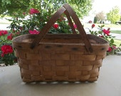 Primitive Prairie Shabby Chic Distressed Vintage Wooden Wicker Long Double Handled Picnic Pie Basket