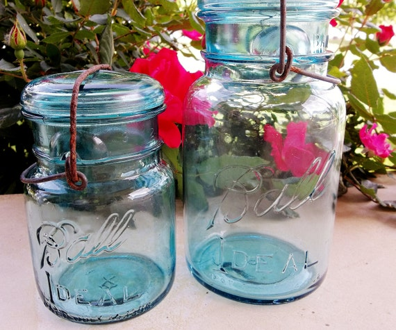 Blue-Green Mason Vintage Canning Jars with Clamp --lot of 2