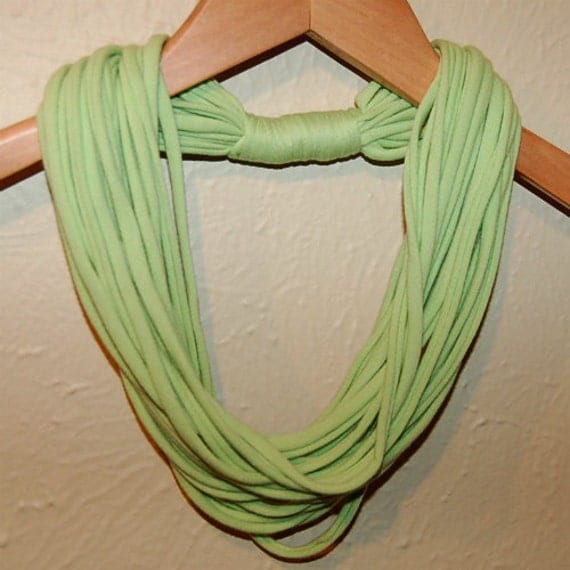 Upcycled T-Shirt Necklace / Scarf in Celery Green