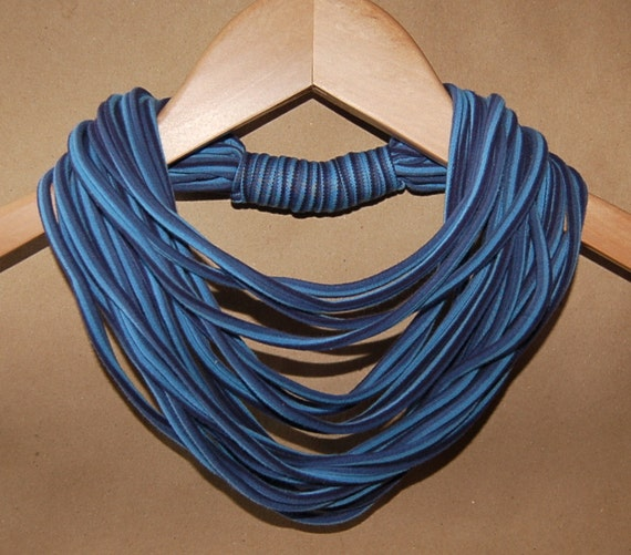 Upcycled T-Shirt Necklace/Scarf in Blues