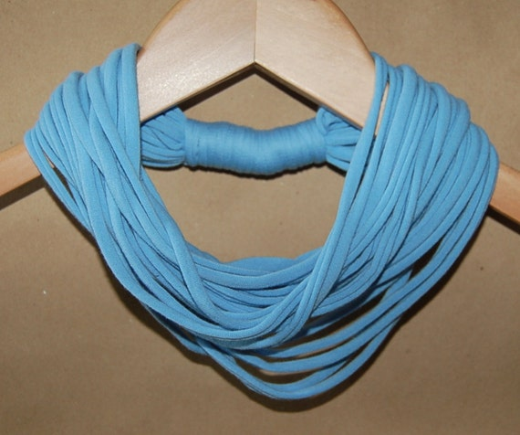 Small Upcycled T-Shirt Necklace/Scarf in Baby Blue