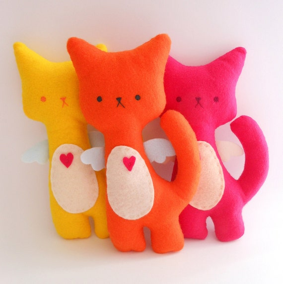 Kitty Cat Plush - Neon Set of 3 stuffed and soft toys