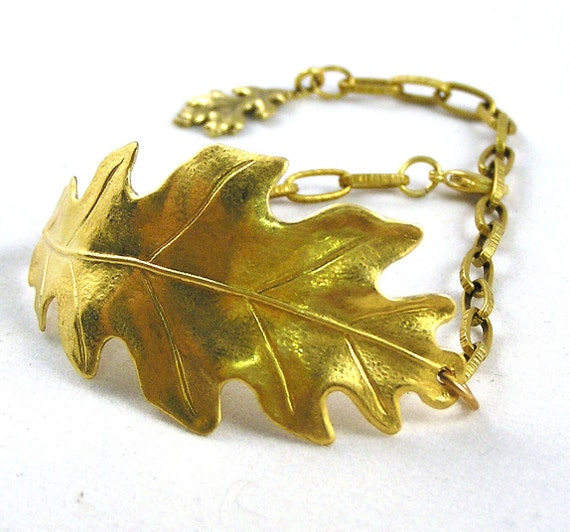 Matte Gold Oak Leaf Bracelet