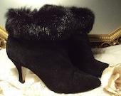 WINTER SALE Vintage Boots Black Suede Rabbit Fur Cuff Paris French Romantic Valentine Sexy Stiletto Heel