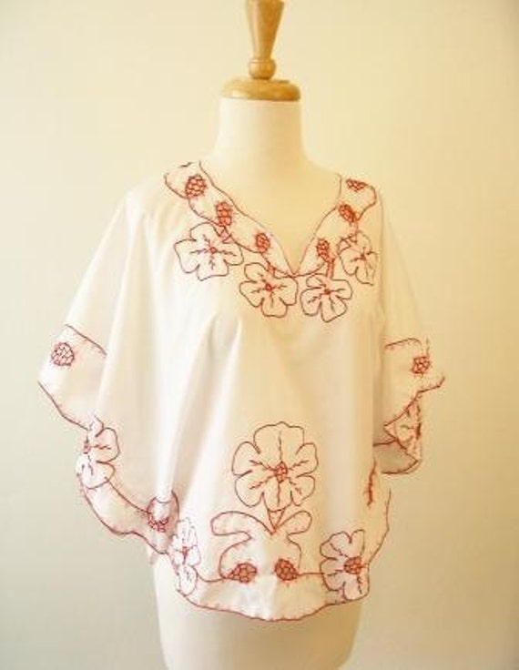 White and Red Embroidered Peasant Top