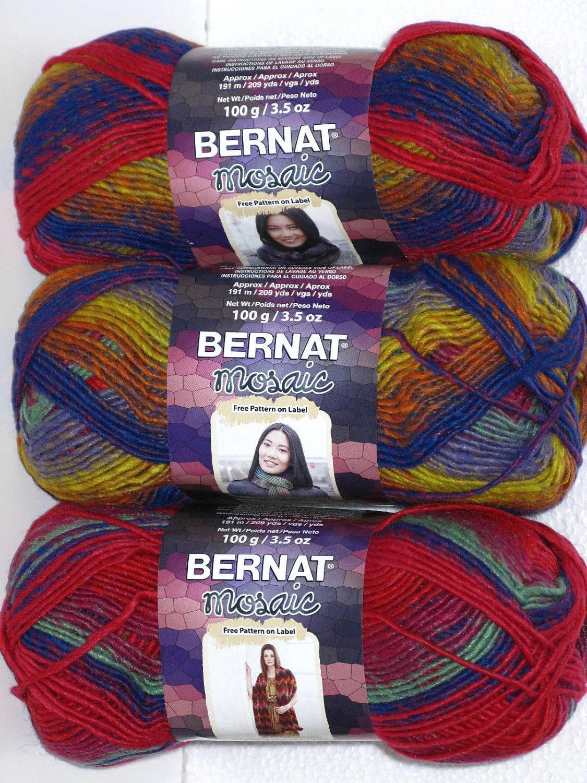 Bernat Mosaic Yarn Free Crochet Patterns : Bernat Mosaic Yarn in color Vivid 44420 1 skein