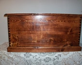 Dovetailed Wood Trunk with Cedar Secret Compartment, in red oak Stain FREE SHIPPING