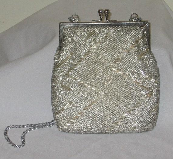Walborg Silver Beaded Evening Bag Vintage Purse Hand Beaded