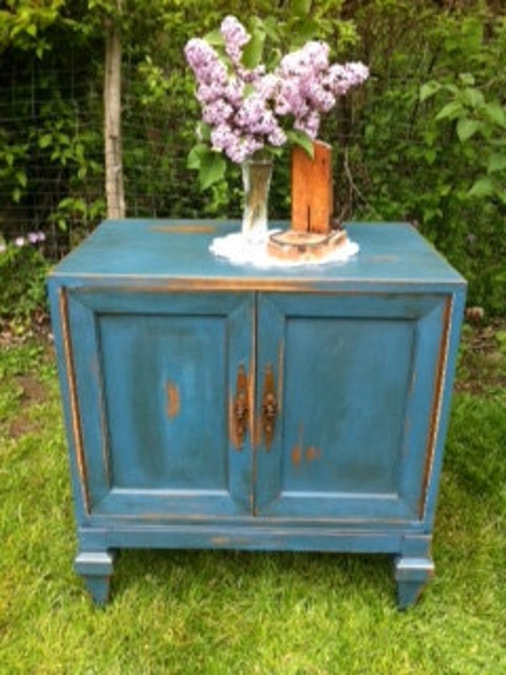 Distressed Blue Side Table with Dark Glaze
