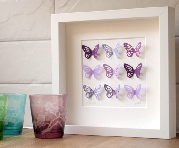 Butterfly collection purple in white frame