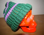 crocheted dark green beanie with pink stripes FREE US SHIPPING