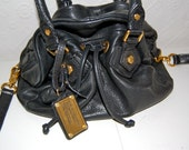 rare hard to find black leather marc by marc jacobs bucket hobo