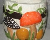 VINTAGE Mushroom Ceramic Kitchen Utensil Holder - 1980's Orange Brown Green Mushroom Woodland Scene